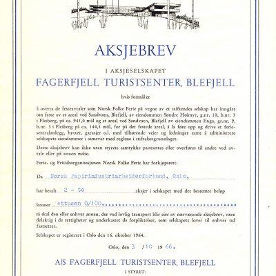 Aksjebrev - Hotellet ble jo bygget og drevet av LO og medlemmene kjøpte aksjebrev i hotellet.